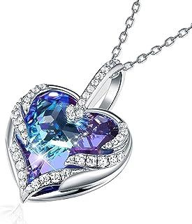"""CRYSLOVE Collana da Donna""""Cuore dell'Oceano""""Ciondolo Cuore con Blu Cristalli,Angel Wing Cuore Pendente Collane,Gioielli Do..."""