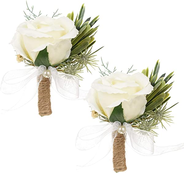 DearHouse 2Pcs Boutonniere Buttonholes Rose Corsage Groom Groomsman Best Man And Girl Brides Rose Wedding Flowers Accessories Prom Suit Decoration