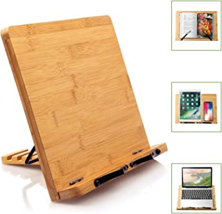 Bamboo Book Stand Cookbook Holder Reading Bookrest with 5 Adjustable Heights, Foldable Tray and Page Paper Clips Portable Sturdy Bookstands for Textbook, Magazine, Music Books, Recipe by Pipishell