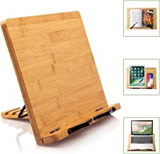 Bamboo Book Stand Cookbook Holder Desk Reading with 5 Adjustable Height, Foldable and..