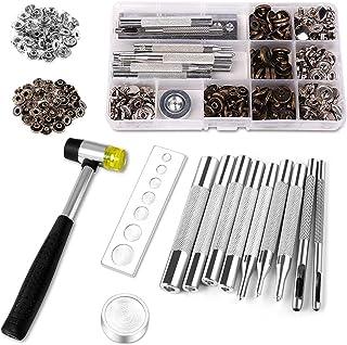 Delawen Capacité d'attache en Cuir KIT KIT Snap en métal avec Outils de réglage pour Cuir 2 Color Vêtements KIT KIT KIT BL...