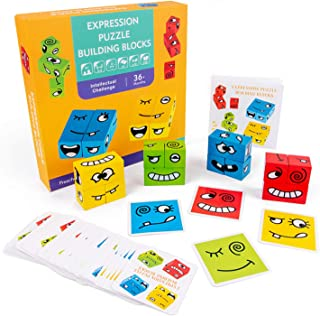 Wooden Expression Puzzle Face-C Building Block Logical Thinking Training Block Parent-Child Table Game for Boys & Girls Ag...