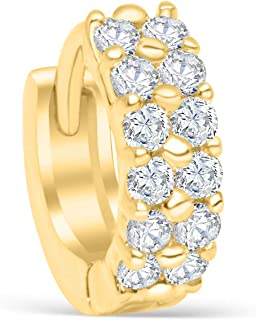 ONDAISY 14k Gold Plated Simulated Diamond Cz Moon Star Heart Flower Round Circle Ball Tragus Cartilage Clicker Hoop Ring Earring Piercing For Women16g
