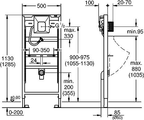 Grohe Sistema de instalaci/ón para urinario con Rapido U Ref 38786001