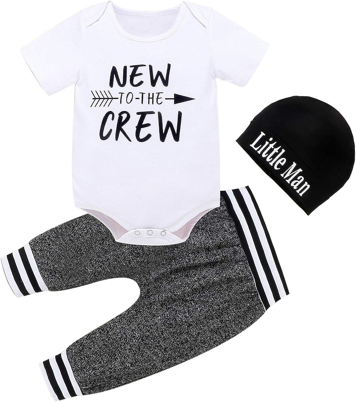 CETEPY Baby Boy Clothes Summer Newborn 3Pcs Infant Romper Short Sleeve+Long Pants+Hat