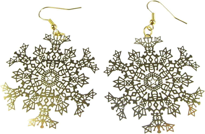 Weekly update Snowflakes Earrings Ice Flower Christmas Superior 6 Golden Filigree Xmas