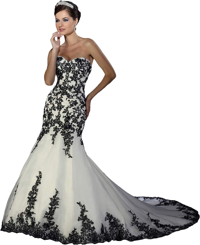 JoyVany Mermaid Wedding Dresses Black Lace Applique Bridal Gown with Train