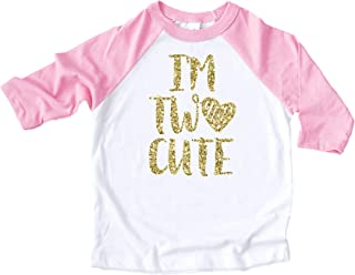 2nd Birthday Outfit Girl Gold I'm Two Cute Outfit Glitter Gold 2nd Birthday