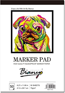 """Bianyo BN-5801 Bleedproof Marker Paper Pad-A4(8.27inX11.69in) -50 Sheets, White (8.27""""x11.69"""")"""