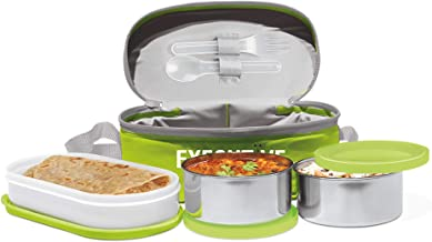 Milton Executive Lunch Box Soft Insulated Tiffin Box (2 SS Container,1 Microwave Safe Container),Green