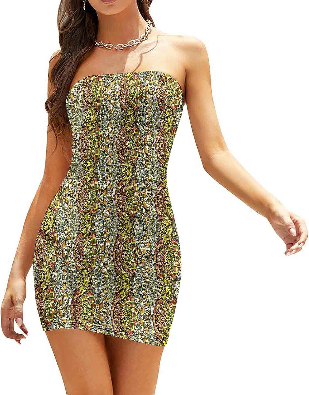 Women's Summer Strapless Dresses Grungy Multicolor Starburst Dresses