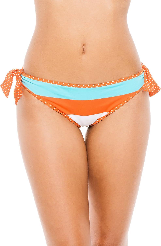 Tommy Bahama Women's Reversible Tie Side Hipster Bikini Bottom Ginger/Capri/Cave Multi XS