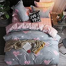 DIADIR Lightweight Soft Microfiber Duvet Cover Bedroom Bedding Sets Heart Shaped Printed Quilt Cover Zipper Closure (1 Duvet Cover + 2 Pillowcase) (King)