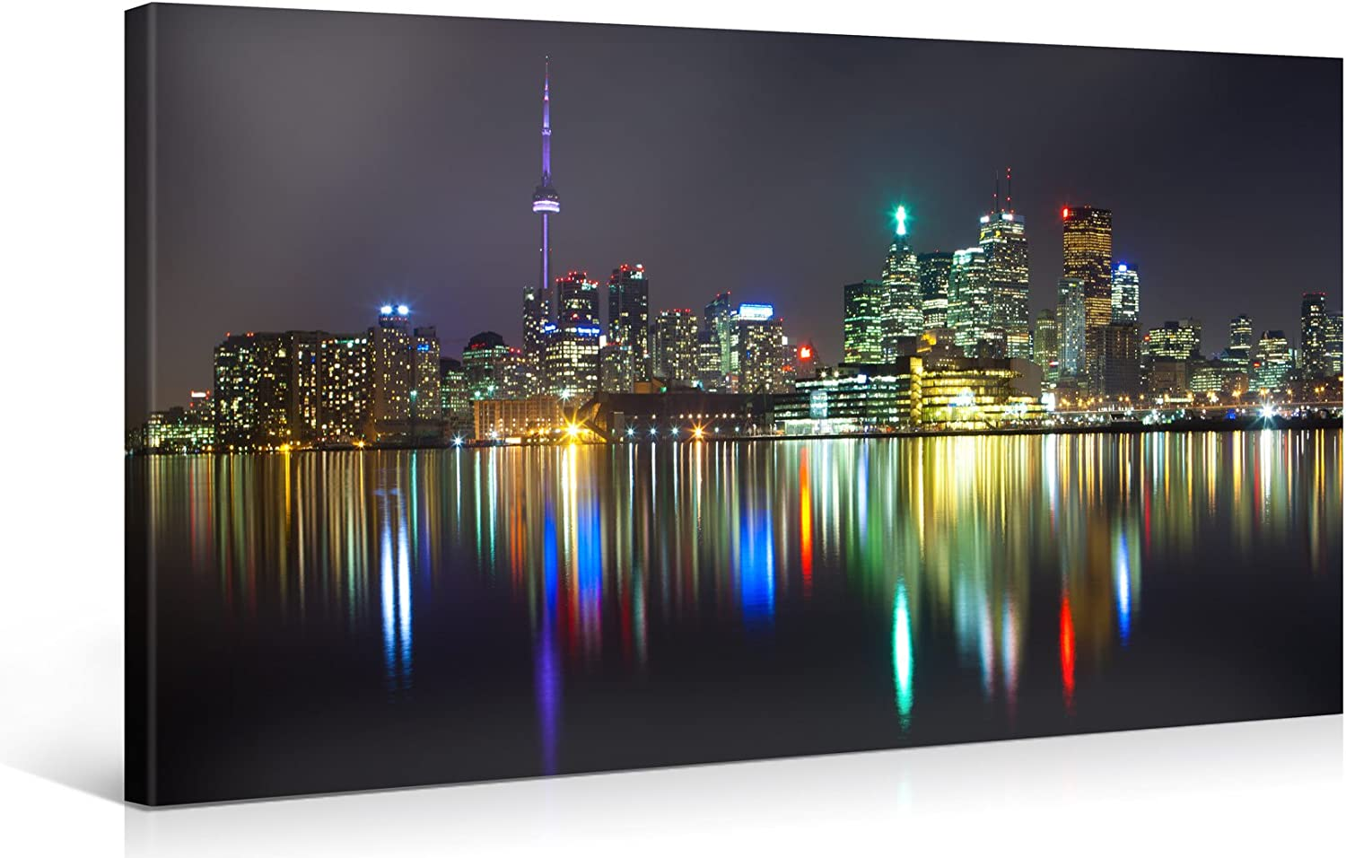 Amazon Com Large Canvas Print Wall Art Toronto City Panorama 40x20 Inch Cityscape Canvas Picture Stretched On A Wooden Frame Giclee Canvas Printing Hanging Wall Deco Picture E4709 Posters Prints