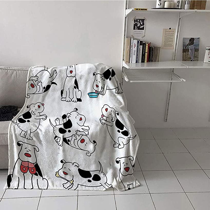 Khaki home Children's Blanket Microfiber All Season Blanket (50 by 70 Inch,Dog Lover Decor Collection,Cartoon Dogs Expressions Dachshund Joy Feed Eating Happy Playing Enjoying,Black White Maroon