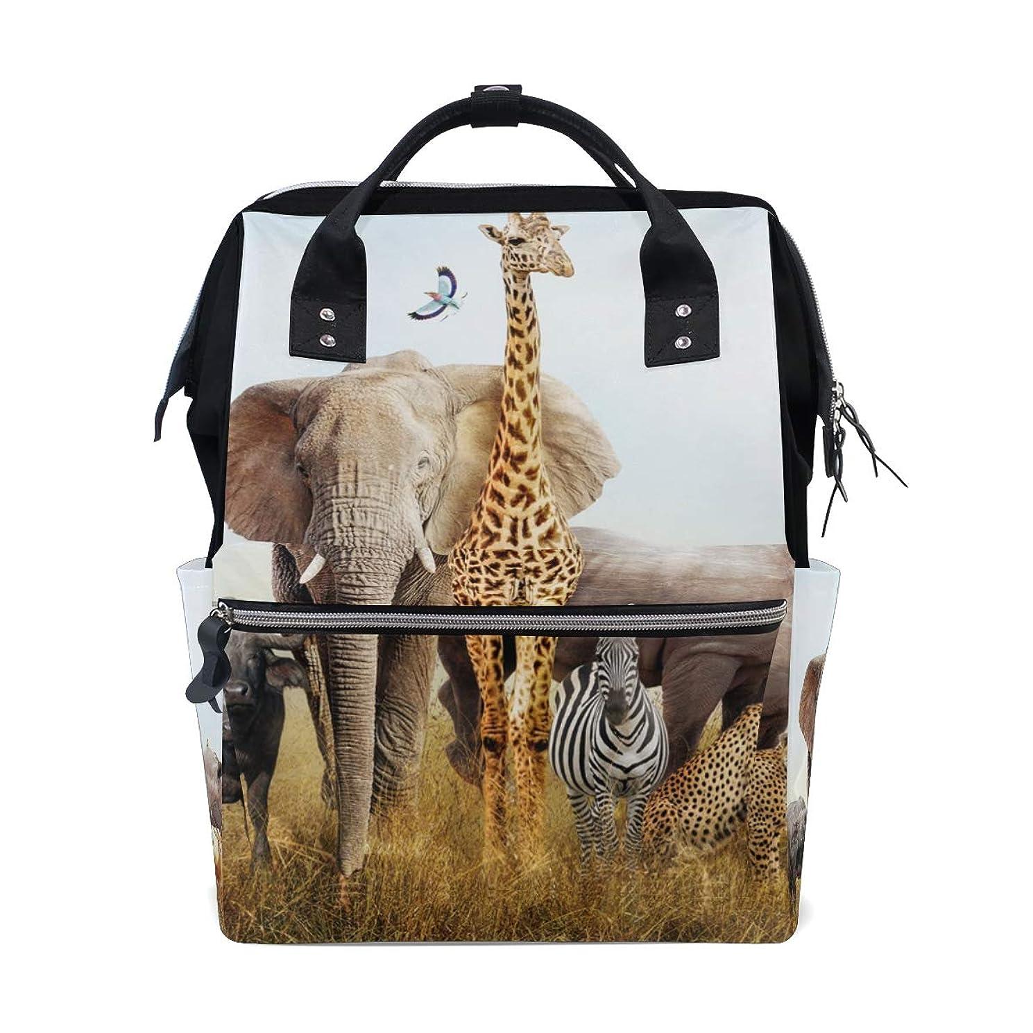 Elephant Giraffe Rhinoceros Lion Leopard School Backpack Large Capacity Mummy Bags Laptop Handbag Casual Travel Rucksack Satchel For Women Men Adult Teen Children