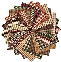 40 Rustic Christmas Charm Pack, 5 inch Precut Cotton Homespun Fabric Squares by JCS