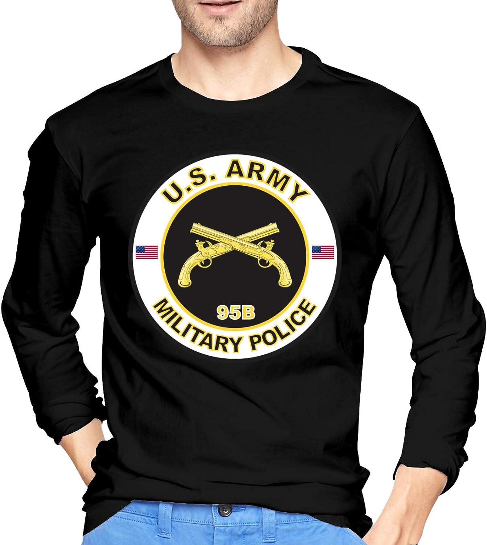 Army Armor Branch Insignia Military Veteran Crewneck T-Shirt Ultra Soft Henley Shirts Long-Sleeve T-Shirts for Men