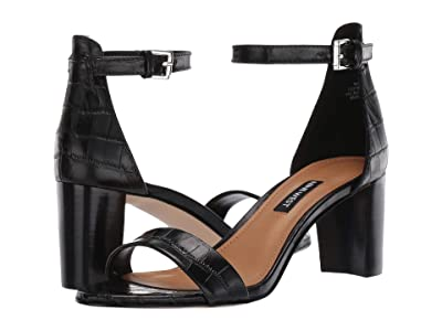 Nine West Pruce Block Heel Sandal (Black) High Heels