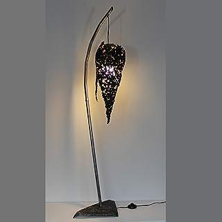 Lampade di fiama - Illuminazione fiamma pizzo acciaio e scultura in foglia oro P. Buil