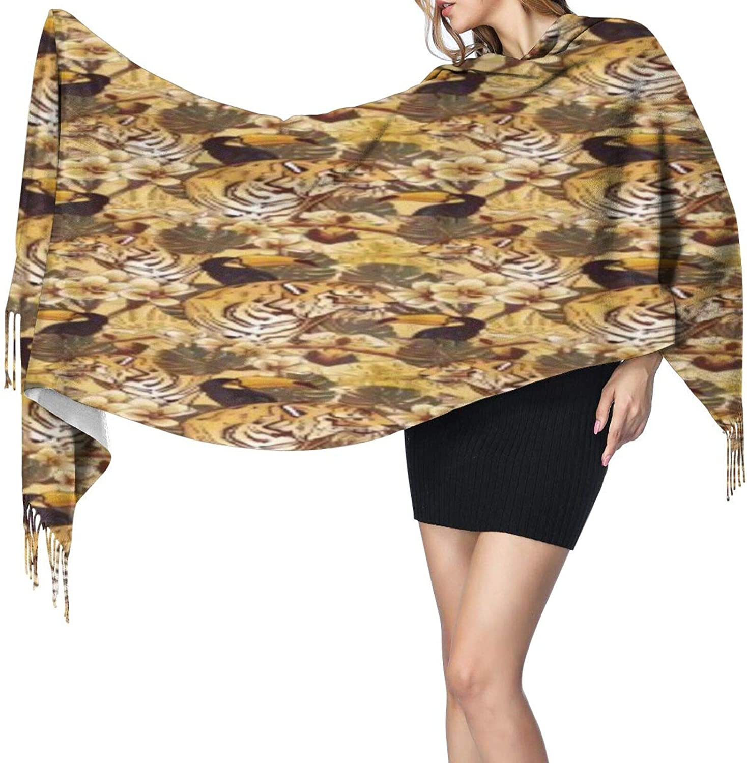 Cashmere fringed scarf Tiger and toucan winter extra large scarf