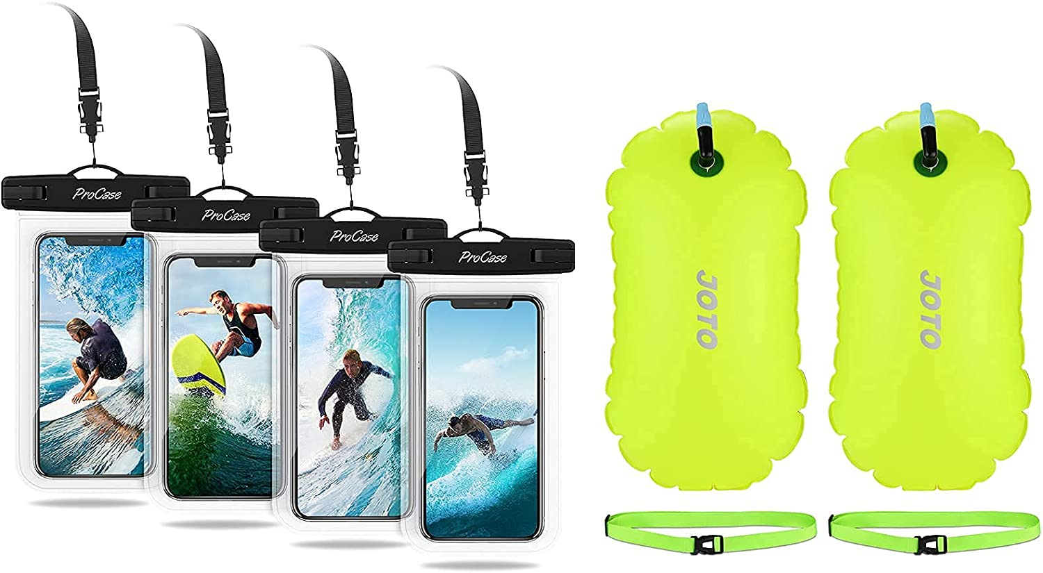 4 Pack ProCase Universal Cellphone Waterproof Pouch Dry Bag Underwater Case Bundle with 2 Pack JOTO Swim Buoy Float, Swimming Bubble Safety Float with Adjustable Waist Belt