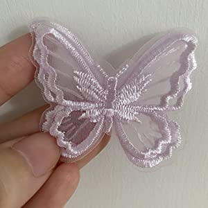 12pcs Butterfly Lace Trim, Double Layers Organza Butterfly Lace Fabric Embroidery Sewing Lace DIY Craft Butterfly Decor Applique Patches for Wedding Bride Hair Accessories Dress Decoration (Purple)