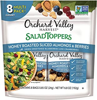 ORCHARD VALLEY HARVEST Salad Toppers, Honey Roasted Sliced Almonds & Berries,  0.85 oz (Pack of 8), Non-GMO, No Artificial Ingredients