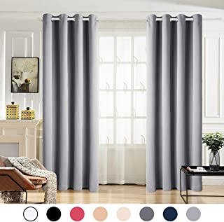 MAEVIS 99% Blackout Curtains 2 Panels for Bedroom Grommet Top,Light Blocking Draperies Room Darkening Thermal Insulated Window Curtain for Living Room(W52xL84 inch,Light Grey)