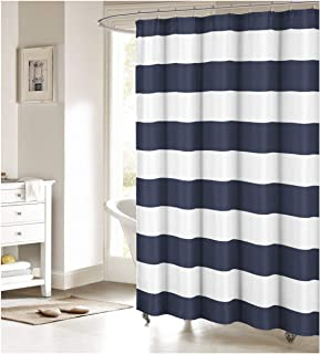 Fabric Shower Curtain Nautical Stripe Design Navy And White
