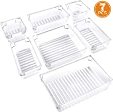 IPOW 7-Piece Desk Drawer Organizer Trays 4-Size Versatile Plastic Bathroom Organizer Drawer Dividers Storage Bins Vanity Trays for Bedroom Dresser Makeup Bathroom Kitchen Utensil Office