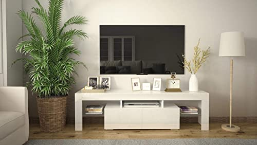 """wholesale COSVALVE High-Gloss outlet sale Fronts LED-Light TV Stand for TVs up to 65"""", Entertainment new arrival Centers with Two Drawers TV Media Furniture, for Living or Family Room, White outlet sale"""