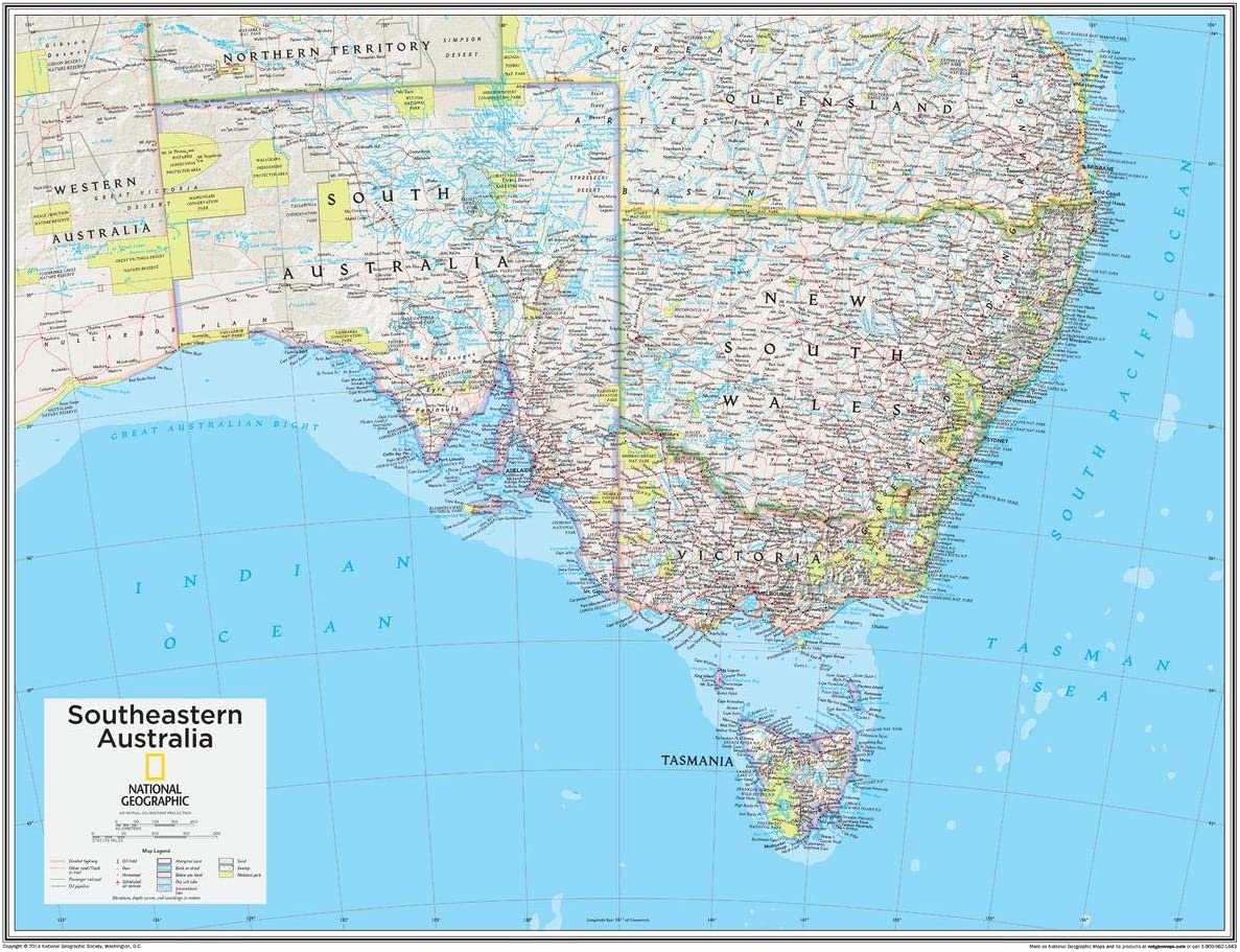 National Excellence Geographic: Southeastern Australia Wall Map x 22 - Max 89% OFF 28 i