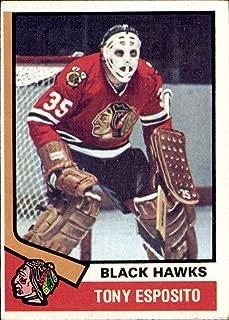 1974-75 Topps #170 Tony Esposito Chicago Blackhawks goalie (Nrmt but oc) Vintage NHL Hockey Card (Box214Stu)