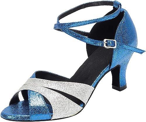 TTW Chaussures de Danse à Bout Ouvert pour Femmes en Cuir PU Latin Chacha Jazz Ballroom - Sandales de Danse Bleues avec Paillettes Scintillantes,bleuHeel8.5cm,41