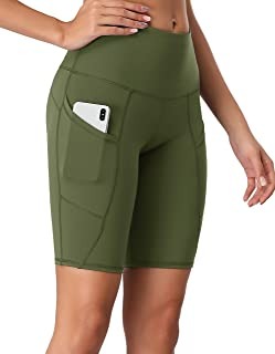 Oalka Women's Short Yoga Side Pockets High Waist Workout Running Shorts