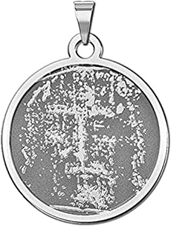 PicturesOnGold.com Shroud of Turin Religious Medal - 1 Inch Size of a Quarter -Solid 14K White Gold