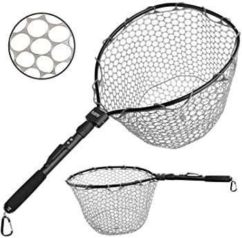 Fly Fishing Landing Net Fish Keeper Basket Brail Dip Net Wood Handle with Soft Rubber Mesh