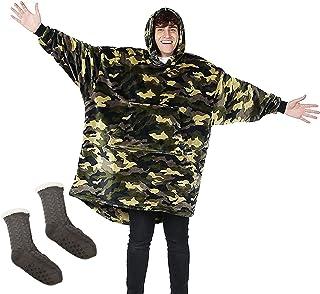 هوديي بطانية بطانية كبيرة الحجم مع زوج من الجوارب الكشمير السميكة،دافئة ومريحة،بالإضافة إلى حجم الرجال والنساء/التمويه