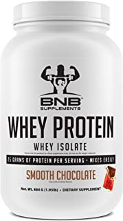 100% Whey Protein Isolate - Smooth Chocolate Flavor - 25g of Protein per Serving - 2lb Tub - Mixes Easily - Delicious Protein Recovery Shake - by BNB Supplements