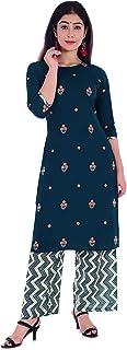APH Fashion Women's Rayon Printed Straight Kurta With Palazzo Set (Blue)