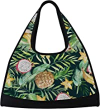 MASSIKOA Green Palm Leaves Banana Pineapple Travel Duffel Bag Sports Gym Bag Shoulder Bag
