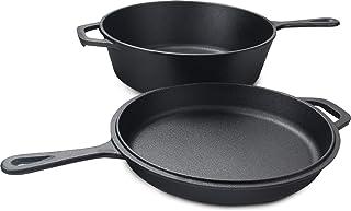 KICHLY Hierro Fundido Horno Holandes Cocina Combinada Dutch Oven 2 en 1 con Olla de 3.2 Cuartos de galón y sartén de 10.25 Pulgadas.