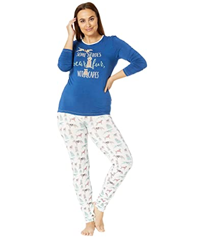 Kickee Pants Plus Size Long Sleeve Fitted Pajama Set (Natural Canine First Responders) Women