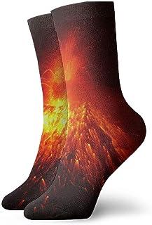 Increíble Volcán Erupción Hombres Mujeres Calcetines cortos 30cm Calcetines clásicos de algodón para yoga Senderismo Ciclismo Correr Fútbol Deportes