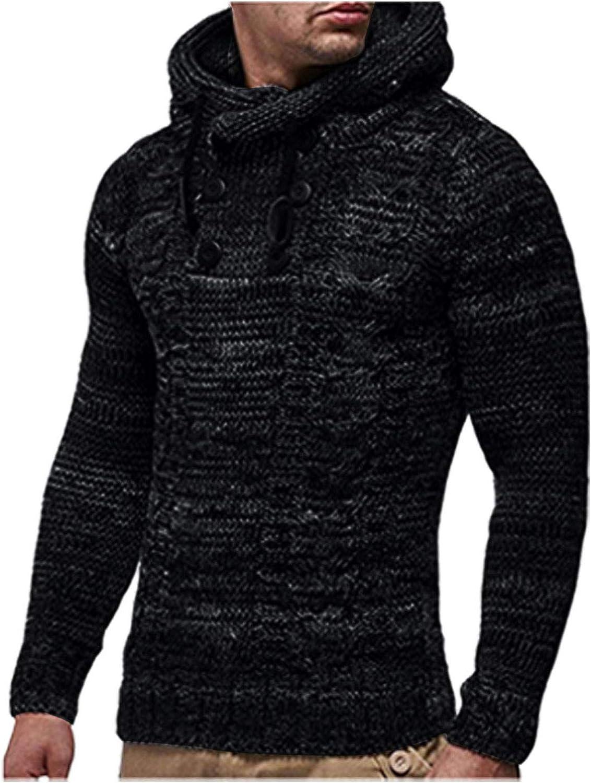 Maryia Men's Knitted Pullover Hoodie Long Sleeve Thermal Turtleneck Sweater Winter Casual Slim Fit Cardigan Sweaters Dark Gray