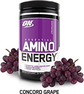 OPTIMUM NUTRITION ESSENTIAL AMINO ENERGY, Concord Grape, Keto Friendly BCAAs, Preworkout and Essential Amino Acids,with Green Tea and Green Coffee Extract, 30 Servings