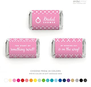Andaz Press Chocolate Minis Labels Trio, Fits Hershey's Miniatures Party Favors, Bridal Shower, 36-Pack, CUSTOM MADE 20 COLORS