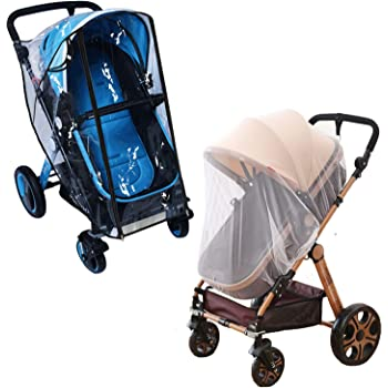 Universal Weather Shield Stroller Windproof Protection Rain Cover Mosquito Net