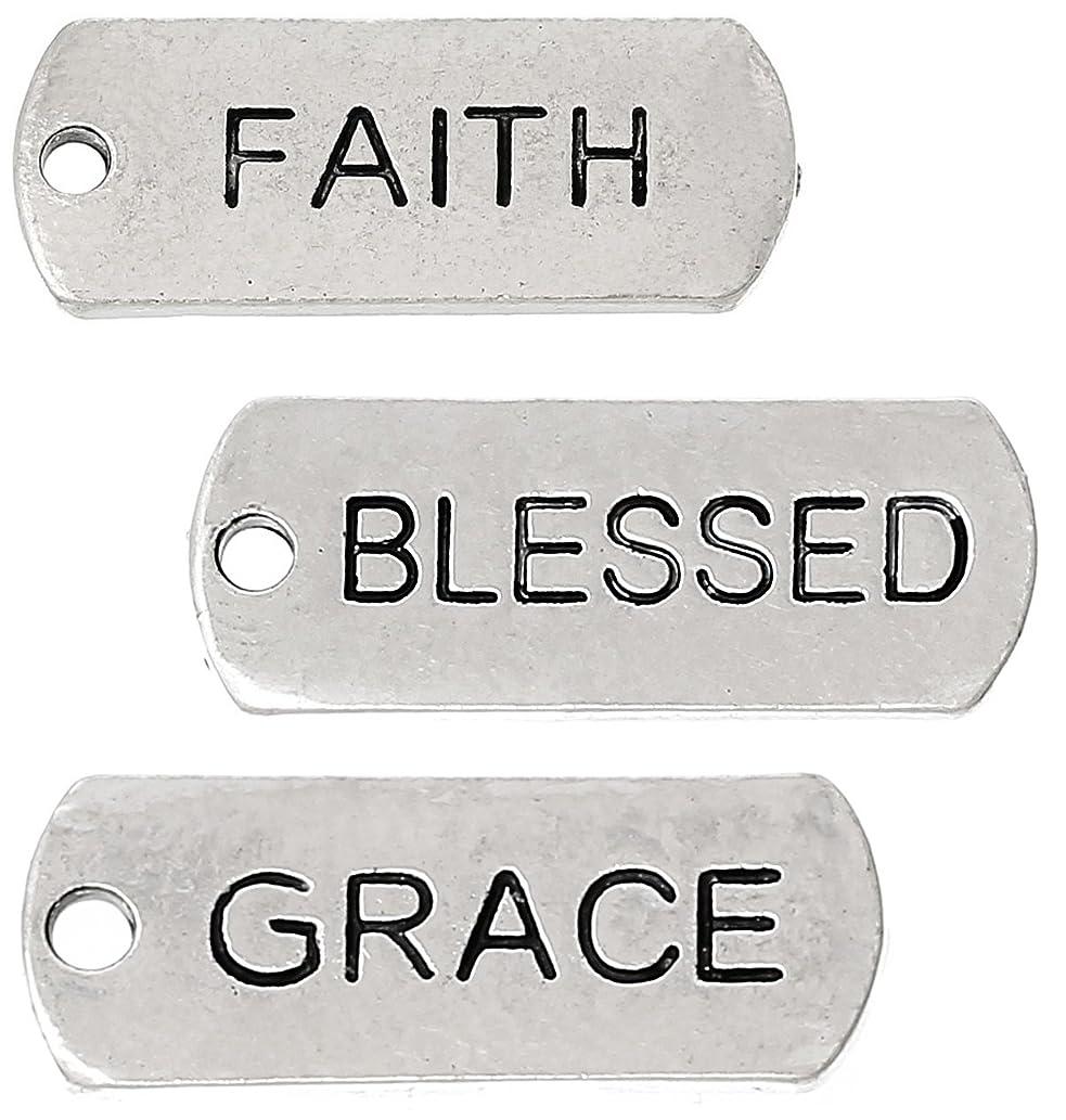 87 Pc Inspirational Message Charm Pendants, Silver Tone (Faith, Blessed, Grace)